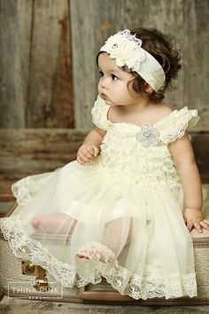 Make the flower girl at your wedding feel like a princess with this stretchy bodice that features cascades of lace flowing into a chiffon skirt with stunning lace trim. For age up to 7 yrs. old. Explore Think Pink Bows flower girl dresses at http://thinkpinkbows.com/collections/flower-girl-dresses/products/heartthrob-petti-lace-dress-w-rhinestone-flower-in-ivory?variant=16168500099 Cute Flower Girl Dresses   Girls Clothing   Kids Fashion   Vintage Wedding   Country   Rustic