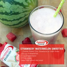 Quench your thirst with our refreshing Strawberry Watermelon smoothie! Ingredients: 1 Premier Protein 11oz. Strawberries & Cream Shake ½ cup of strawberries 1 cup of watermelon 4-6 ice cubes  Blend until smooth and enjoy!