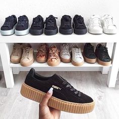 PUMA Women's Shoes - Sneaker collection - Puma Creepers Fenty - Find deals and best selling products for PUMA Shoes for Women Women's Shoes, Pumas Shoes, Cute Shoes, Me Too Shoes, Mens Puma Shoes, Puma Sneakers, Platform Sneakers, Black Puma Shoes, Creeper Sneakers