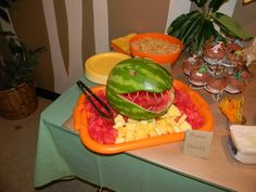 Dinosaur birthday party Dinosaur Birthday Party, Fourth Birthday, 6th Birthday Parties, Birthday Bash, Birthday Ideas, Dinosaur Watermelon, Watermelon Head, Party Gifts, Dinosaur Head