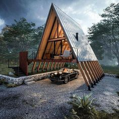 Moving in or moving out? Container Home Designs, A Frame House Plans, A Frame Cabin, Wood Frame House, Wooden House, Tiny House Cabin, Tiny House Design, Tiny Houses, Small Log Cabin