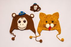 Monkey hat, cat hat, and monkey hat for cats