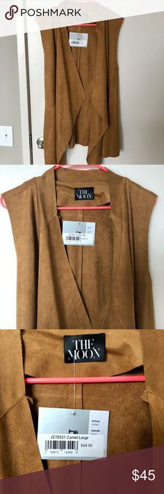 Suede-like vest, camel/brown, size L New with tags, never worn!   Beautiful camel brown color, soft fabric. The Moon brand, size L. The Moon Jackets & Coats Vests