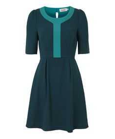 Love this Green Contrast Placket Heloise Three-Quarter Sleeve Dress on #zulily! #zulilyfinds