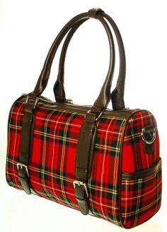 Ladies Wool Tartan Handbag, Double Buckle, Stewart Royal