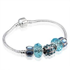 Bamoer Women Silver Plated Blue Eyes Crystal Beads Diy Charm Bracelets Mother's Halloween Christmas Day Gifts( 7.8inch/20cm ) -- To view further, visit now : Jewelry Charm Bracelets