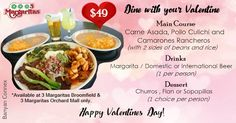 Valentine Meal Promo Design Done for Client Valentines Food, Carne Asada, Churros, Flan, Mexican Food Recipes, Yummy Treats, Tasty, Beef, Margaritas