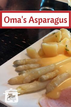 White asparagus. A spring-time treat in Germany. Served with Hollandaise sauce, boiled potatoes and ham. Traditional!