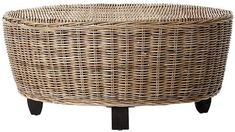 Wicker furniture is most commonly constructed from rattan, which is a vine found in various parts of Asia. Nautical Coffee Table, Coffee Table Redo, Wicker Coffee Table, Round Coffee Table, Rattan Ottoman, Wicker Chairs, Round Ottoman, Ottomans, Indoor Wicker Furniture
