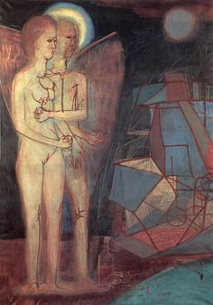 'Man & Woman' by Bela Kondor Adam And Eve, Hanging Art, Figurative Art, 21st Century, Oil On Canvas, Primitive, Modern Art, Modern Paintings, Hungary