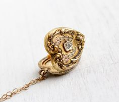 Vintage Diamond Heart Locket Necklace  1930s by MaejeanVintage, $98.00