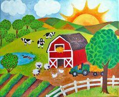 Kids Canvas Art Ideas For Grandma 54 Ideas Farm Paintings, Nursery Paintings, Nursery Art, Nursery Ideas, Murals For Kids, Art For Kids, Sunrise Painting, Kids Canvas Art, Childrens Wall Art