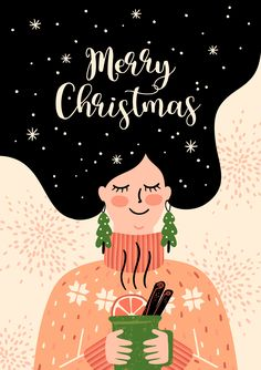 New Year Illustration, Winter Illustration, Cute Illustration, Christmas Illustration Design, Christmas Phone Wallpaper, New Year Wallpaper, Christmas Drawing, Christmas Art, Aline Rosa