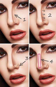 Sigue estos tips básicos de maquillaje para hacer parecer más pequeña, fina o delgada la nariz. ¡Te encantará!