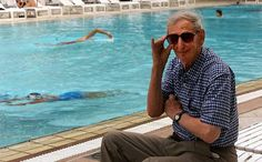Eric Hobsbawm by a pool