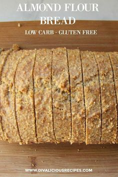 A low carb bread that is simple to make and baked with almond flour. Delicious sliced and toasted for breakfast. A low carb bread that is simple to make and baked with almond flour. Delicious sliced and toasted for breakfast. No Bread Diet, Best Keto Bread, Low Carb Bread, Paleo Bread, Keto Almond Bread, Paleo Flour, Gluten Free Baking, Gluten Free Recipes, Low Carb Recipes
