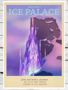 Retro Travel Poster Disney Elsa's Palace MANY by TeacupPiranha