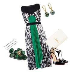 """A touch do green"" by issilen ❤ liked on Polyvore featuring BCBGMAXAZRIA, Yves Saint Laurent and Christian Louboutin"