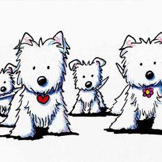 Original Westie Dog Art Illustration by KiniArt.com