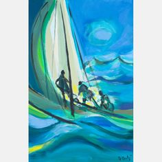 LOT 1 MARCEL MOULY Marcel Mouly , (1918-2008) - Trois Yachtmen Grosse Mer, Gentilly, 2004, Medium: Oil on canvas, Dimensions: H: 36 1/2 W: 23 1/2 Est: $4,000-6,000 WATCH Signed, titled and dated on verso. With Certificate of Authenticity. Provenance William S. Fitts Trust UAD. Signature Signed and dated lower right.