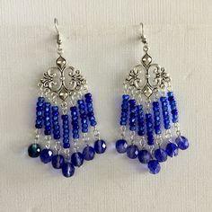 Silver Chandelier, Chandelier Earrings, Beaded Earrings, Etsy Earrings, Drop Earrings, Blue Crystals, Crystal Beads, Silver Plate, Dangles