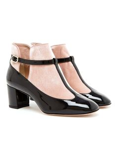 VALENTINO | Patent Leather and Velvet Boots- - Only two sizes remaining 38.5 and 39 U. K. sizes