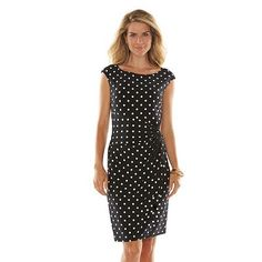 Chaps Polka-Dot Knot-Front Dress - Women's