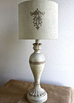 TABLE LAMP Vintage Distressed Gilded Ivory Shabby Chic Ornate Crackle Finish Customized Lampshade Hand Painted Annie Sloan Chalk Paint