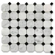 Carrara Marble Tile Italian White Carrera 2 inch Octagon Mosaic w/ Black Dots Polished - Stone Center Online Room Tiles, Bathroom Floor Tiles, Wall And Floor Tiles, Shower Tiles, Bathroom Cabinets, Black And White Tiles, Black Dots, White Marble, Country Style Bathrooms
