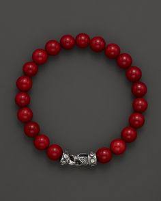 Scott Kay Men's Bamboo Coral Bead Bracelet with Riveted Sterling S