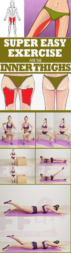 Super Easy Exercise for the Inner Thighs diet workout thigh exercises - Perdre du poids Fitness Workouts, Butt Workout, Easy Workouts, Fitness Diet, Yoga Fitness, At Home Workouts, Fitness Motivation, Health Fitness, Fitness Plan