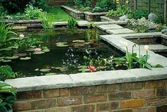 I want a raised brick build pond. Backyard Water Feature, Ponds Backyard, Garden Ponds, Backyard Waterfalls, Pond Landscaping, Landscaping With Rocks, Landscaping Design, Pond Design, Garden Design