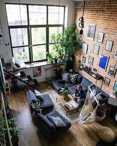 50 Elegant Bohemian Home Interior Decor Designs Interior Exterior, Interior Architecture, Loft Design, House Design, Deco Studio, Casa Loft, Living Room Plants, Bohemian Interior Design, Ideas Hogar