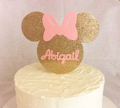Gold and pink Minnie Mouse cake topperMinnie mouse gold glitter