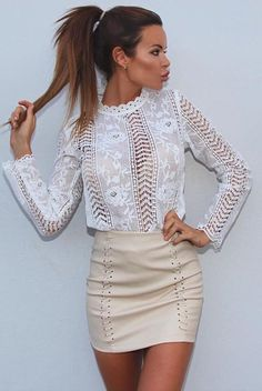 #spring #outfits White Crochet Lace Blouse + Ivory Leather Skirt