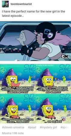 Her nane us Debbie and this is canon Pearl Steven Universe, Steven Universe Funny, Mystery Girl Steven Universe, Gravity Falls, Lapidot, Bubbline, Spongebob Memes, Star Vs The Forces Of Evil, Kids Shows