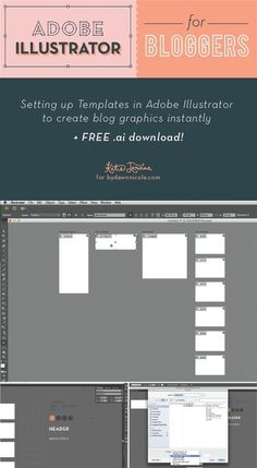 Adobe Illustrator for Bloggers - Setting up Templates to create blog graphics instantly. Plus FREE .ai Download! | Katie Jarman for ByDawnNicole.com Web Design, Graphic Design Trends, Graphic Design Tutorials, Graphic Projects, Design Layouts, Blog Design, Do It Yourself Design, Adobe Illustrator Tutorials, Blog Images
