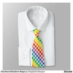Checkered Rainbow Beige Neck Tie