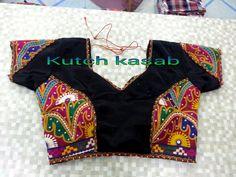 Kutchi antique work blouse Blouse Designs Silk, Saree Blouse Patterns, Designer Blouse Patterns, Designer Dresses, Garba Dress, Navratri Dress, Choli Dress, Kutch Work Saree, Screen Short