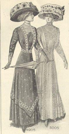 Edwardian Era Fashion, Edwardian Gowns, Edwardian Clothing, Historical Clothing, 1900s Fashion, Women's Fashion, Vintage Outfits, Vintage Fashion, Gibson Girl