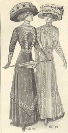 "Here is an illustration of two ladies in afternoon frocks from a 1910 issue of The Lady's Magazine. Note the extra wide hat crowns, made especially to accommodate the ""Gibson Girl"" hairstyles of the period."