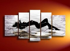 Hand Painted Oil Paintings Gift Women Lie Down 5 Panels Wood Inside Framed Hanging Wall Decoration