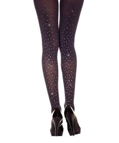 This Black Sparkle Opaque Tights - Women by Music Legs is perfect! #zulilyfinds