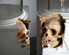 Carved skull from drawer