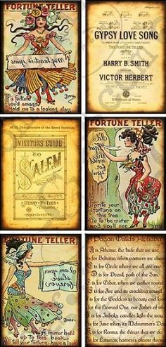 These vintage fortune-tellers will take your artwork out of this world… Vintage Gypsy, Vintage Circus, Images Vintage, Vintage Art, Vintage Labels, Vintage Ephemera, Bottle Label, Tarot, E Craft