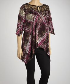 Take a look at this Magenta & Gray Abstract Lace Cutout Top - Plus by Yummy on #zulily today!