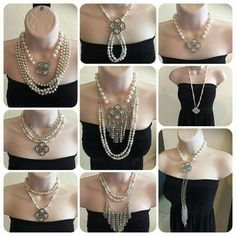 "PDJ : Girls Best Friend ""Signature"" 5-strand Necklace (15"" chain, 16"" double faux pearl, 18"" fringe + 4"" extender) removable strands and magnetic pin/enhancer. Maximum versatility - over 30 ways to wear the necklace!"