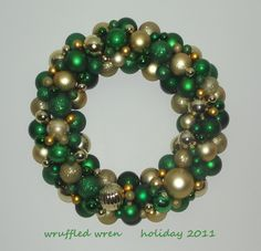 BAYLOR BEARS Green and Gold ALL Ornament Wreath