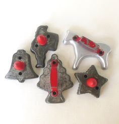 Red Handle Cookie Cutters Tin Aluminum Wood Metal Christmas Tree Bell Santa Star Horse