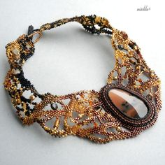 Freeform Beadwoven Necklace with Dendritic Agate Cabochon 1st part